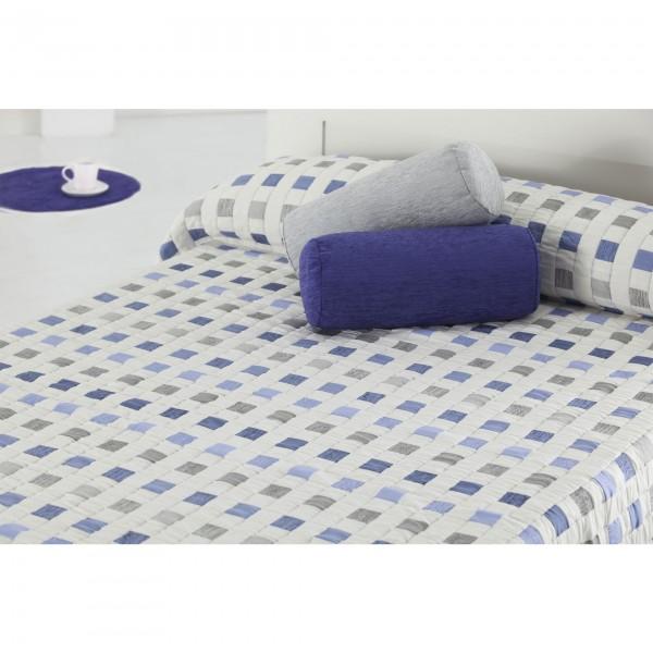 Ruwette Bedsprei Bari, Ecru/Licht Blauw