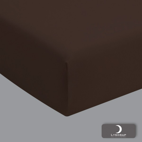 Lysdrap Hoeslaken Perkaal-Katoen, H:20, Chocolade