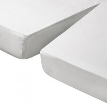 Lysdrap Topperhoeslaken 1-Split Satijn, Wit
